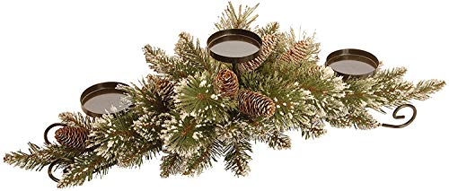 National Tree Company Company Artificial Christmas Centerpiece Includes 3 Candle Holders, Red Berries, Cones and Steel Base, 30 Inch, Glittery Pine