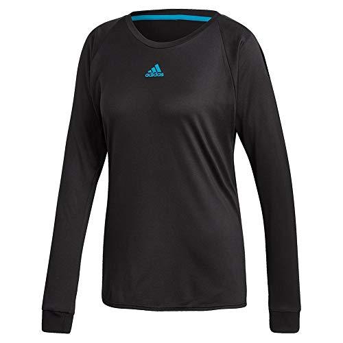 adidas Women`s Escouade Long Sleeve Tennis Top Black and Shock Cyan (- TennisExpress)