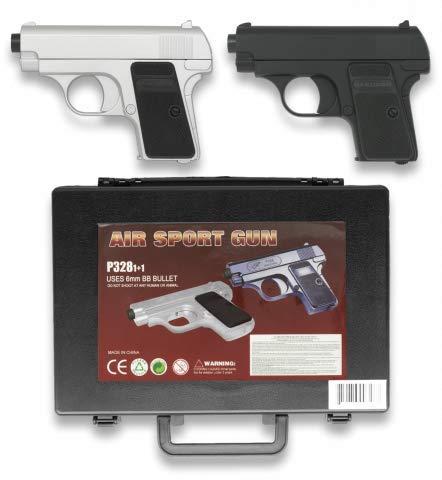 Set de 2 Pistolas en maletin Potencia 0,50 Julios Plástico Airsoft Replica Paintball Caza Supervivencia tactico Senderismo Camping Outdoor Albainox 38282 + Portabotellas de regalo
