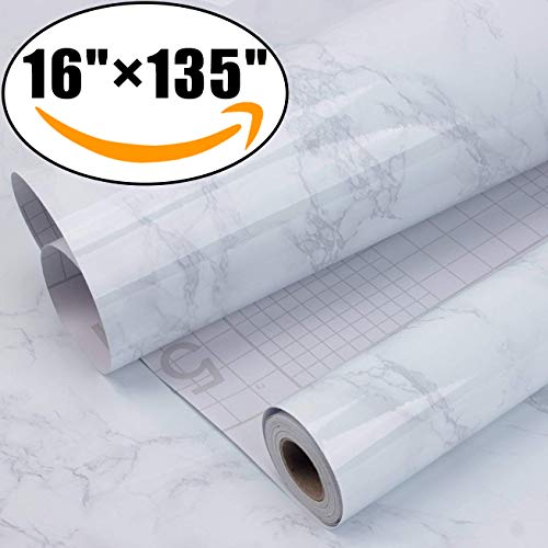 """AROIC Marble Self Adhesive Paper 16"""" x 135""""-Granite Gray/White Roll Kitchen countertop Cabinet Furniture is renovated Thick Waterproof PVC"""