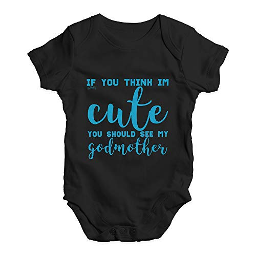 Twisted Envy Babygrow Baby Romper If You Think I'm Cute See My Godmother Black New Born