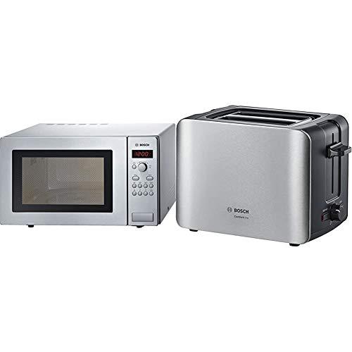 Bosch HMT84M451 Serie 2 Freistehende Mikrowelle / 900 W / 25 L/Drehteller 31,5 cm/Türanschlag Links & TAT6A913 ComfortLine Kompakt-Toaster, Auftau/Aufwärmfunktion, versenkbarer Brötchenaufsatz