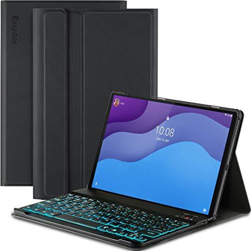 EasyAcc Tastatur Hulle Kompatibel mit Lenovo Tab M10 HD 2nd Gen 101 Zoll TB X306XTB X306F Beleuchtete Tastatur Magnetische Kabelloser Bluetooth Abnehmbare Deutsche QWERTZ Schutzhulle Schwarz