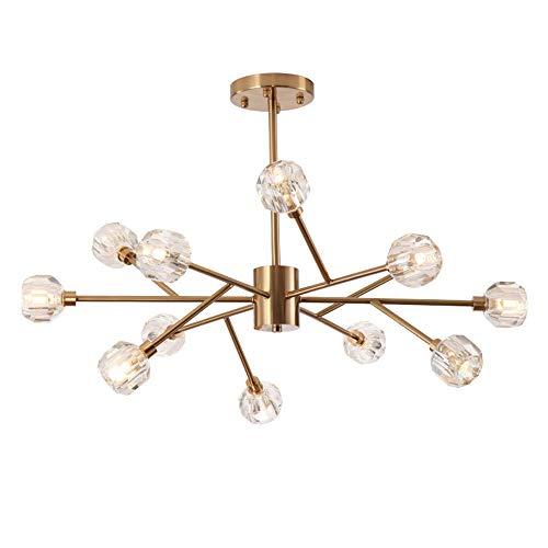 LWJDM Sputnik Kronleuchter Gold 12-Flammig, Pendelleuchte Hängelampe Modern Molecular Kristall Lampenschirm und Eisen G9 Leuchten Geeignet für Wohnzimmer, Esszimmer Schlafzimmer (Ohne Glühbirne)