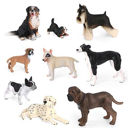 Dog Figurines Toys VOLNAU 9PCS Mini Dog Figures for Kids Toddlers Christmas Birthday Gift Preschool Educational Bulldog, Dalmatian, Schnauzer Puppy Animal Toys Set