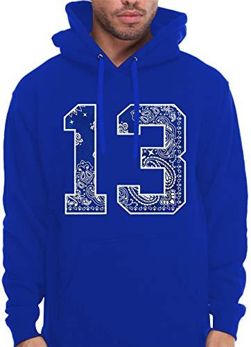 CaliDesign Men's Royal Blue Bandana 13 Hoodie South Side LA Pullover Sweatshirt, 3X - XXXL - 3XL