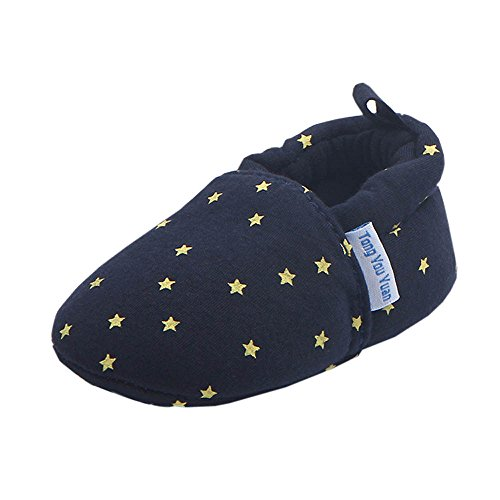 KonJin Baby Star Print Sneaker Anti-Rutsch-Kleinkindschuhe Lederpuschen Hausschuhe Kindergartenschuhe Kuh-Veloursleder Krabbelschuhe Lederschuhe Schläppchen Lauflernschuhe mit Wildledersohle