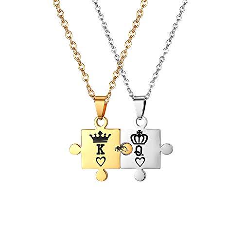 JewelryWe Halsketting, 2 stuks, Fidanzati, militaire dog tag-stijl, esercito, roestvrij staal, halsketting, hart, puzzel, King Queen