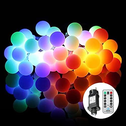 100LED Globe String Light,con Telecomando Multicolore 8 Diverse modalità di Illuminazione Timer Timing Setting Time Funzione Luminosità Regolabile Dimmerabile IP44