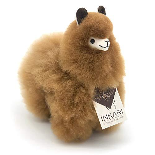 Alpaka Kuscheltier aus echter Alpaka-Wolle - handgefertigt, Spielzeug, fair und nachhaltig produziert, hypoallergen, 23 cm groß, Hazelnut