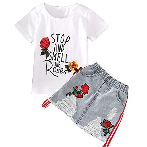 Conjunto de ropa de verano Tianhaik para niña con rosas bordadas. Camiseta + falda de tela vaquera rota. De 2...