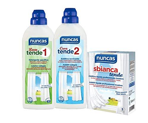 NUNCAS KIT TRATTAMENTO TENDE : LAVA TENDE 1 + CURA TENDE 2+ SBIANCA TENDE