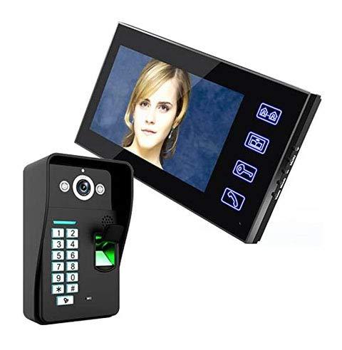 Jxiao 7'TFT Reconocimiento de Huellas Dactilares RFID Contraseña Video Puerta Teléfono Intercomunicador Timbre con visión Nocturna Seguridad Cámara CCTV Vigilancia del hogar