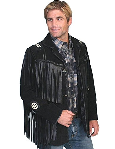 Scully Men's Fringed Suede Leather Coat Tall Black 44 T