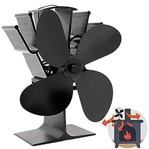 Ventilador de Estufa de 4 Cuchillas Accionado por Calor | Chimenea de Madera y Estufa de Leña | Mayor Eficiencia…