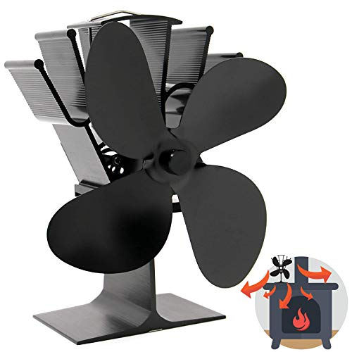 Wärmebetriebener 4-Blatt-Herdlüfter | Geräuschloser Betrieb | Kaminholz & Holzofen | Erhöhte Effizienz | Sicher und umweltfreundlich | M&W