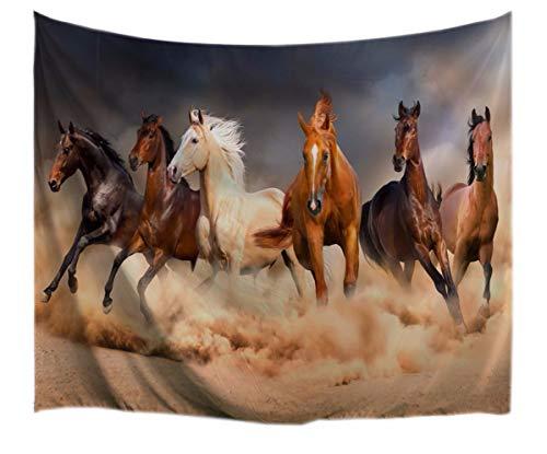 A.Monamour Marrón De Color Caqui Colores Seis Caballos Corriendo País Rural Paisaje Animal Impresión Tela Pared Colgando Tapices para Decoración De Pared De Dormitorio 130x153cm