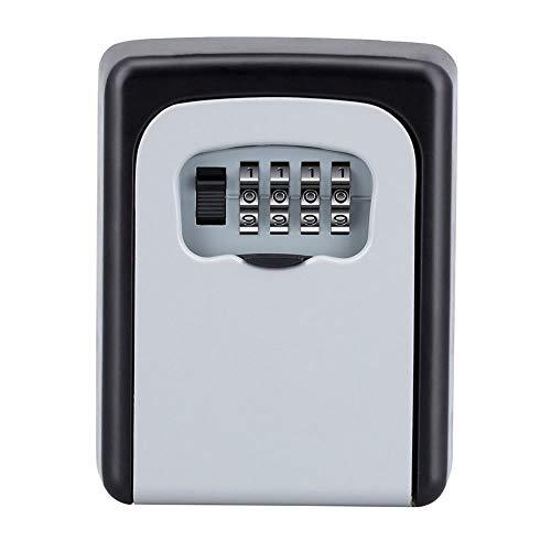 シルバー セキュリティキーボックス 鍵収納 4桁ダイヤル式 防犯 盗難防止 合鍵 共有 安全 カードキー 車 キー