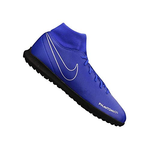 Nike Phantom VSN Club DF TF, Zapatillas de fútbol Sala Unisex Adulto, Multicolor (Racer Blue/Black/Metallic Silver/Volt 400), 42 EU