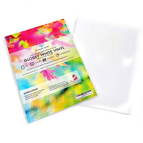 10 hojas de vinilo A4 de alta calidad (PVC), color blanco brillante, autoadhesivo, de calidad, imprimible