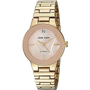 Anne Klein para mujer AK/2670pmgb diamond-accented tono dorado reloj de