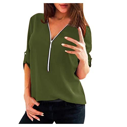 E-Scenery Women's Zip Chiffon Blouses Casual V Neck Long Sleeve Front Loose Shirt Top Army Green