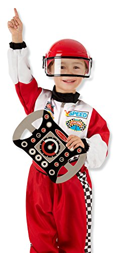 Melissa & Doug 000772085526 Race Car Driver Role Play Costume Set (3 Pcs) - Jumpsuit, Helmet, Steering Wheel, One Size, White