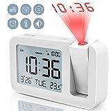 TedGem Projektionswecker, Reisewecker Digitaler Wecker Tischuhr 3,8'LCD Anzeige, Große Anzahl, 4 Helligkeit, 9 Min Snooze, 2 Alarmtöne, für Schlafzimmer, Büro, Küche (Weiß)