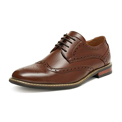 Bruno HOMME MODA ITALY PRINCE Men's Classic Modern Oxford Wingtip Lace Dress Shoes,PRINCE-3-DARK-BROWN,6.5 D(M) US