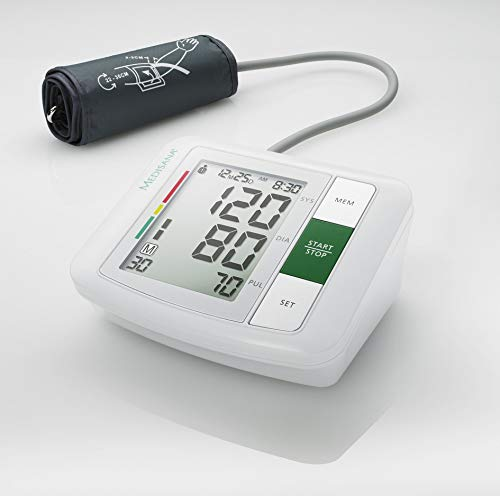 41KDd5mdhzL - Medisana BU 510 - Tensiómetro para el brazo, pantalla de arritmia, escala de colores de los semáforos de la OMS, para una medición precisa de la tensión arterial y del pulso con función de memoria