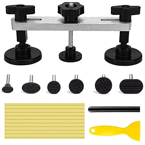 LEOTOTO Auto Body Paintless Dent Repair Tool, Car Dent Puller with Bridge Dent Puller, Glue Puller Tabs for Car Dent Removal, Door Dings and Hail Damage Repair, Minor Dent Removal