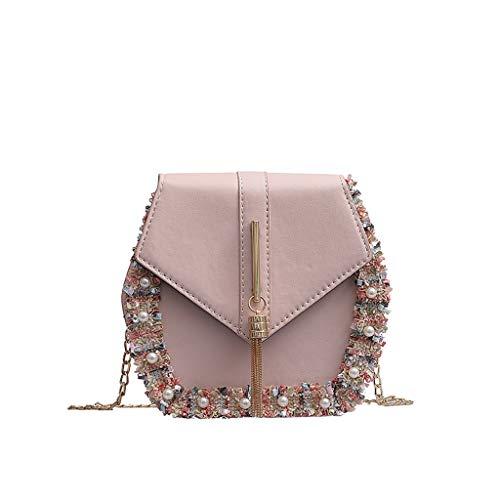 LILIHOT Frauen Tasche Fransen Perle Wild Messenger Bag Fashion Single Umhängetasche Casual Wild Handbag Outdoor Kleine Crossbody Geldbörse Mode Handtasche Große Kapazität Einkaufstasche