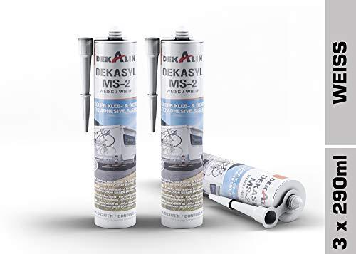 3 x Dekalin DEKAsyl MS 2 MS-Polymer Klebedichtmasse - Dichtungsmittel und Kleber in einem für Camper, Caravan, Wohnmobil 290 ml (weiß)