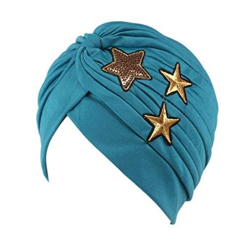 Cáncer De La Mujer Higiene Quimioterapia Maquillaje Alopecia Casual Sombrero Pliegue Elástico Turbante Negro Amarillo Rosa Azul Púrpura con Estrellas