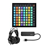 Novation Launchpad Mini MK3 Grid Controller for Ableton Live Bundle with Headphones and Knox 4 Port 3.0 USB Hub (3...