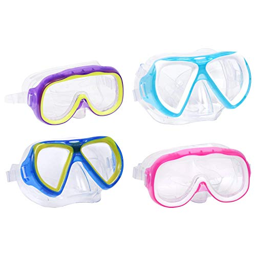4 Pack Swim Mask, UV Protection. Wide View Swimming Goggles (Bundled with SPECIAL MAC ATIK) (MAC) with Soft Silicone, Anti Fog and No Leak, Suitable Goggles for Kids or Boys and Girls (CHAMBERS)