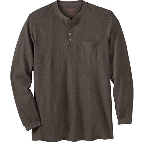 Boulder Creek by Kingsize Men's Big & Tall Thermal Pocket Longer-Length Henley - Tall - 2XL, Heather Navy Long Underwear Top
