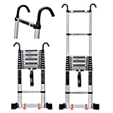 TelesAnd Climbing Extension Telescoping With Hooks Pulley And Longen Stabilizer Bar Heavy Duty、Portable Multi-Purpose Engineering Level TelesLadder、Load 330lbs