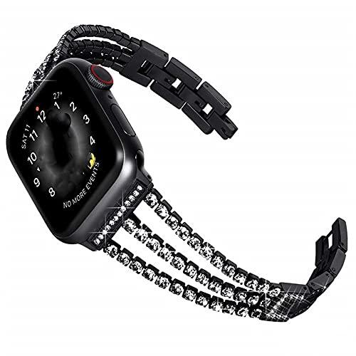 WSYGHP Correa de repuesto para Apple Watch con funda de 38 mm, 40 mm, 42 mm, 44 mm, para mujer, con diamantes de imitación, para pulsera iWatch Series 5/4/3/2/1 (color: negro, tamaño: 40 mm)