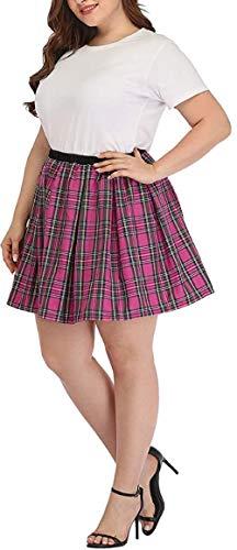 Women Pleated Skirt Plus Size High Waisted Tennis School Girl Skirt Plaid Aline Mini Skirt with Lining Shorts (Pink, 4XL)