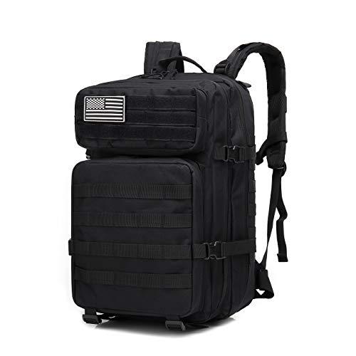 Delgeo 45L Taktischer Rucksack Militär Rucksäcke Nylon 900D Stoff Army Rucksack mit 4 Fächern Mehrere Taschen Militär Rucksack für Trekking, Camping, Bergsteigen - Schwarz