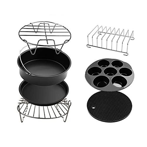SunshineFace 7 unids freidora de aire eléctrica kit de accesorios pincho rack aleación de aluminio titular freidora cesta hornear pan