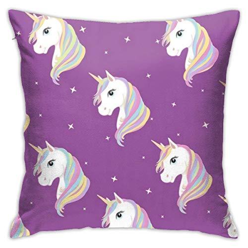 Cushion Case,Uni-Corn In Purple Cushion Cover Durable Throw Cushion Case for Holiday Bed Sofa,45X45cm