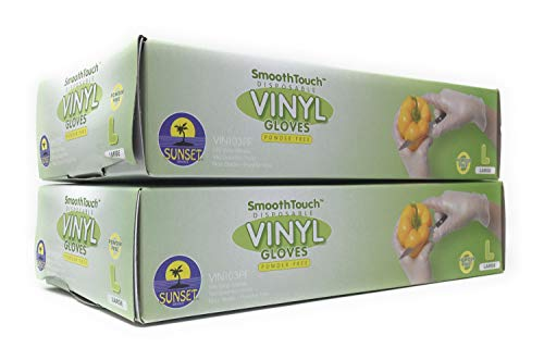 200 Disposable Vinyl Gloves, Non-Sterile, Powder-Free, Smooth Touch, Food Service Grade, Large Size [2x100 Pack]