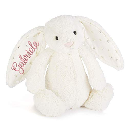 Stofftier, Hase Kuscheltier Teddybär mit Namen Personalisiert, Ostern Geburt Taufe Geschenk, bestickt Geburt - Datum Namenplüschtier