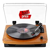 Record Player, JOPOSTAR 3-Speed Belt-Drive Turntable with Built-in Stereo Speakers, Vintage Style Record Player Support Vinyl-to-MP3 Recording, AUX RCA Headphone Jack (Wood)