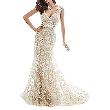 YSMei Womens Illusion Back Mermaid Wedding Dress for Bride Lace Applique Formal Gown with Train Champagne 20W
