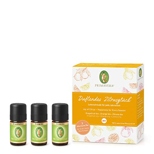 PRIMAVERA ätherische Öle Set Duftendes Zitrusglück - Geschenkbox 3 x 5 ml Zitrone, Orange, Grapefruit - Aromaöl, Duftöl, Aromatherapie, Geschenke - vegan