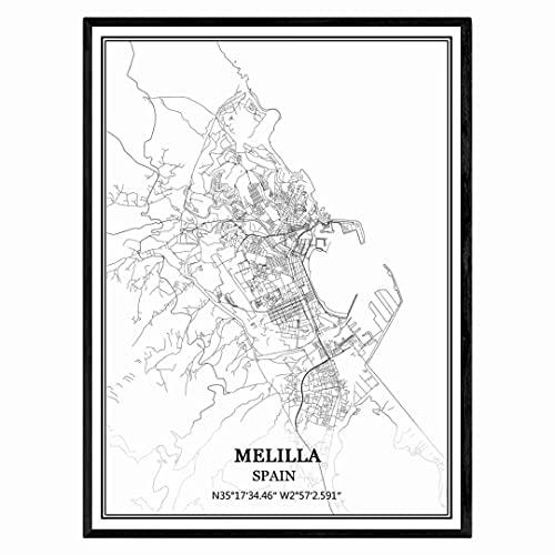 Melilla España Mapa de pared arte lienzo impresión cartel obra de arte sin marco moderno mapa en blanco y negro recuerdo regalo decoración del hogar