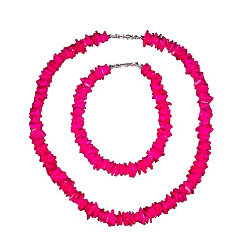 BlueRica 2 Piece Set ~ Fuchsia Pink Puka Chip Shells Necklace & Anklet